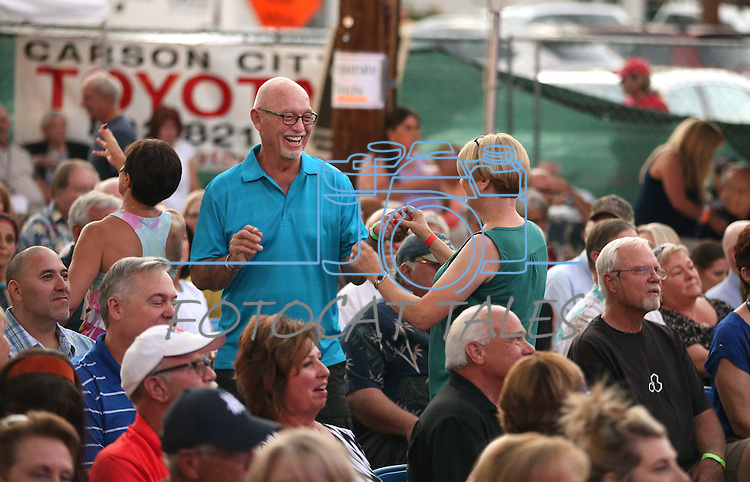 Stan Jones and Susie Messina dance at the 8th Annual Concert Under the Stars in Carson City, Nev., on Thursday, July 14, 2016.<br />Photo by Cathleen Allison