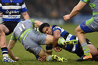 Ben Tapuai of Bath Rugby tackles Adam Radwan of Newcastle Falcons to ground. Anglo-Welsh Cup match, between Bath Rugby and Newcastle Falcons on January 27, 2018 at the Recreation Ground in Bath, England. Photo by: Patrick Khachfe / Onside Images