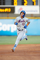 Mark Vientos (13) of the Kingsport Mets rounds the bases after hitting a home run against the Burlington Royals at Burlington Athletic Stadium on July 27, 2018 in Burlington, North Carolina. The Mets defeated the Royals 8-0.  (Brian Westerholt/Four Seam Images)