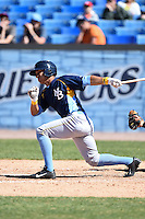 Myrtle Beach Pelicans second baseman Christopher Bostick (11) at bat during a game against the Wilmington Blue Rocks on April 27, 2014 at Frawley Stadium in Wilmington, Delaware.  Myrtle Beach defeated Wilmington 5-2.  (Mike Janes/Four Seam Images)