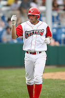 July 4th 2008:  Infielder Cody Overbeck (31) of the Williamsport Crosscutters, Class-A affiliate of the Philadelphia Phillies, during a game at Bowman Field in Williamsport, PA.  Photo by:  Mike Janes/Four Seam Images