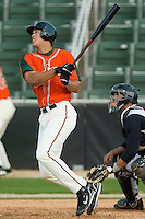 Right fielder Mike Stanton (32) of the Greensboro Grasshoppers follows through on his swing versus the Kannapolis Intimidators at Fieldcrest Cannon Stadium in Kannapolis, NC, Sunday, April 20, 2008.