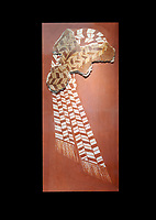 "Minoan 'Sacred Knot"" fresco wall art depicting the religious apotropaic symbol, Nirou Chani 1600-1450 BC . Heraklion Archaeological Museum., black background"