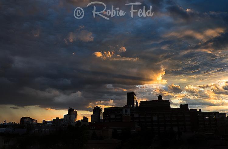 Dramatic sky over Dayton Ohio skyline.