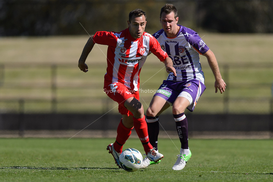 MELBOURNE - 22 September: Richard GARCIA of the Heart controls the ball at a pre-season match between Melbourne Heart and Perth Glory at Epping Stadium on 22 September 2012. (Photo by Sydney Low / syd-low.com)