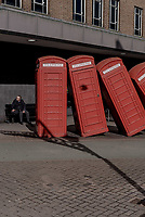 UK. Kingston-Upon-Thames. 20th March 2018<br /> Phone booths as art installation in Kingston.<br /> Andrew Testa for the New York Times