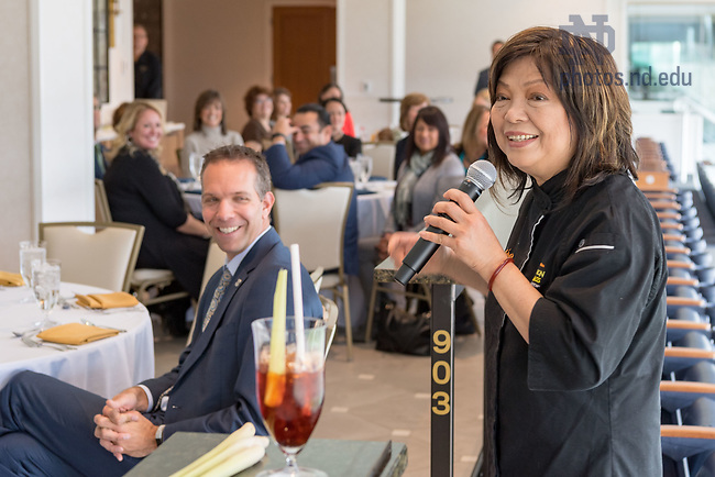 November 9, 2017; Chef Mai Pham speaks at a luncheon in Corbett Family Hall. Pham is the chef and owner of Star Ginger restaurant which is one of the eatery options in the new Duncan Student Center. (Photo by Matt Cashore/University of Notre Dame)