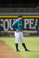 AZL Mariners manager Zac Livingston (15) coaches third base against the AZL Royals on July 29, 2017 at Peoria Stadium in Peoria, Arizona. AZL Royals defeated the AZL Mariners 11-4. (Zachary Lucy/Four Seam Images)