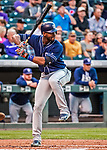 16 September 2017: San Diego Padres right fielder Jabari Blash in action against the Colorado Rockies at Coors Field in Denver, Colorado. The Rockies shut out the Padres 16-0 in the second game of their 3-game divisional series. Mandatory Credit: Ed Wolfstein Photo *** RAW (NEF) Image File Available ***