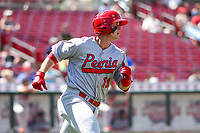 Peoria Chiefs third baseman Nolan Gorman (19) rounds first base during a Midwest League game against the Cedar Rapids Kernels on May 26, 2019 at Perfect Game Field in Cedar Rapids, Iowa. Cedar Rapids defeated Peoria 14-1. (Brad Krause/Four Seam Images)