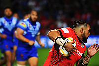 Bunty Afoa in action during the 2017 Rugby League World Cup match between Toa Samoa and Mate Ma'a Tonga at FMG Stadium in Hamilton, New Zealand on Saturday, 4 November 2017. Photo: Dave Lintott / lintottphoto.co.nz