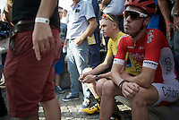 pre-race waiting by Chris Froome (GBR/SKY) & Kenneth Vanbilsen (BEL/Cofidis)<br /> <br /> Post-Tour Criterium Mechelen 2015