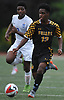 Jevon Burke #13 of St. Anthony's, right, races downfield during a Nassau-Suffolk CHSAA varsity boys soccer game against host Kellenberg High School on Thursday, Sept. 21, 2017. St. Anthony's won by a score of 1-0.