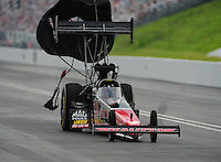 Jun. 18, 2011; Bristol, TN, USA: NHRA top fuel dragster driver David Grubnic during qualifying for the Thunder Valley Nationals at Bristol Dragway. Mandatory Credit: Mark J. Rebilas-