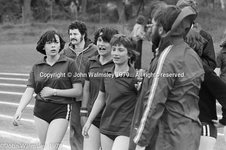 Sports Day at the Education Centre, Wester Hailes, Scotland, 1979.  John Walmsley was Photographer in Residence at the Education Centre for three weeks in 1979.  The Education Centre was, at the time, Scotland's largest purpose built community High School open all day every day for all ages from primary to adults.  The town of Wester Hailes, a few miles to the south west of Edinburgh, was built in the early 1970s mostly of blocks of flats and high rises.