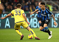 Calcio, Serie A: Inter Milano - Hellas Verona, Giuseppe Meazza stadium, November 9, 2019.<br /> Inter's Lautaro Martinez (r) in action with Hellas Verona's Alan Empereur (l) during the Italian Serie A football match between Inter and Hellas Verona at Giuseppe Meazza (San Siro) stadium, on November 9, 2019.<br /> UPDATE IMAGES PRESS/Isabella Bonotto