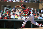 Arizona Diamondbacks&rsquo; Zack Godley pitches against the Los Angeles Dodgers in a spring training game in Scottsdale, Ariz., on Friday, March 18, 2016. <br />Photo by Cathleen Allison