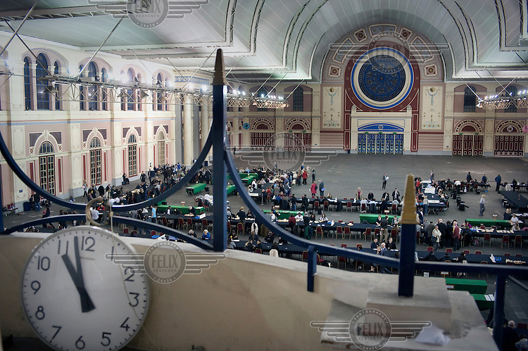 Votes being counted in the Great Hall at Alexandra Palace in North London...