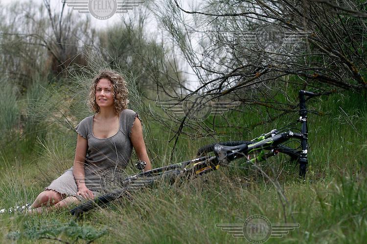 Mountain bike rider Gunn Rita Dahle Flasjå photographed in Madrid during UCI Mountain Bike World Cup, which she won. Spain © Fredrik Naumann