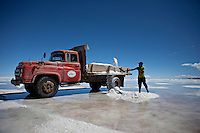 "Uyuni Salt Flats, Bolivia<br /> April 19, 2012<br /> A view of man loading a truck with salt in the Uyuni Salt Flats, the largest salt desert in the world and one of the main attractions for the Dakar 2014 next January.  ©PATRICIO CROOKER/ARCHIVO LATINO For  the first time in its history,  in January 2014 the Dakar Rally will  be cross part of Bolivia, one of the wildest South American nations.  ""The organizers of the Dakar, attracted by the discovery of new spaces, were conquered by Bolivian landscapes that can be classified among the most striking of the continent,"" says the official site of the international race.<br />