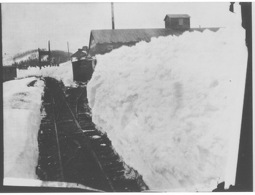 A deep snow cut near the Kilton ore sampler at Breckenridge.<br /> C&amp;S  Breckenridge, CO  1900-1902