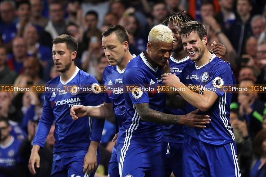 Cesar Azpilicueta (far right) celebrates scoring Chelsea's second goal during Chelsea vs Watford, Premier League Football at Stamford Bridge on 15th May 2017