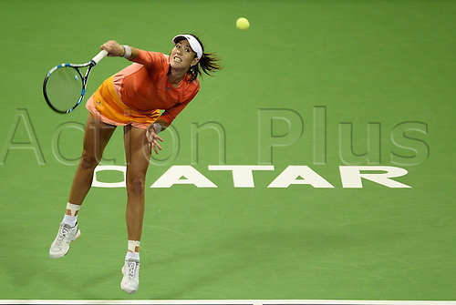 24.02.2016. Doha, Qatar.  Garbine Muguruza of Spain competes during the singles third round match against Timea Babof Hungary at the WTA Tennis Damen Qatar Open 2016 in Doha, Qatar, Feb. 24, 2016. Garbine Muguruza won 2-0.