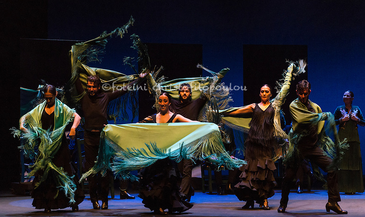 London, UK. 16.02.2016. Ballet Flamenco Sara Baras presents Voces, Suite Flamenca at Sadler's Wells as part of the Flamenco Festival London 2016. Photo shows: Corps de ballet ( Maria Jesus, Garcia Oviedo, Charo Pedraja, Cristina Aldon, Daniel Saltares, David Martin, Alejandro Rodriguez) in Solea pro buleria. Photo - © Foteini Christofilopoulou.