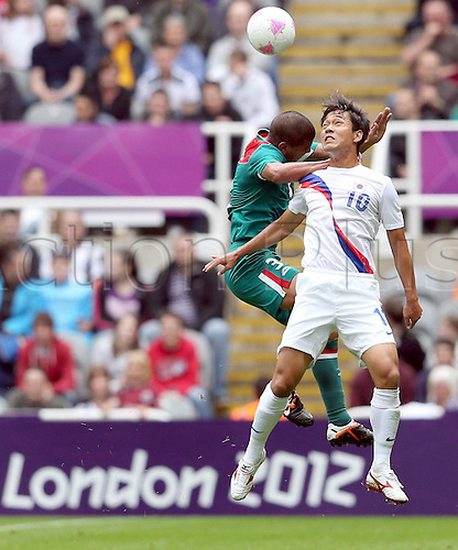 26.07.2012. Newcastle, England.  Park Chuyoung r of South Korea challenges  for The Ball during The Preliminary Round Group B Match of Men s Football between South Korea and Mexico in Newcastle The Game Ended in A 0 0 Draw