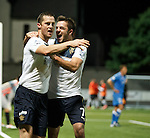 Jon Daly celebrates his goal with Andy Little
