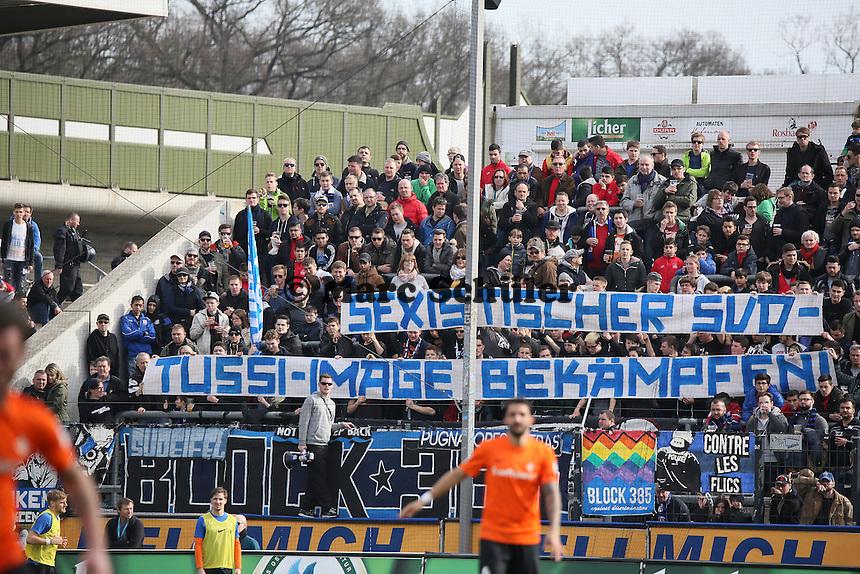 Banner der FSV Fans - FSV Frankfurt vs. SV Darmstadt 98, Frankfurter Volksbank Stadion