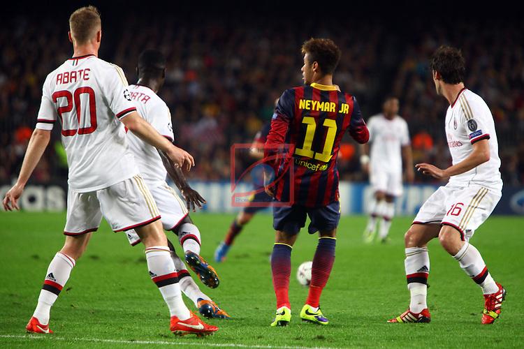 UEFA Champions League 2013/2014.<br /> FC Barcelona vs AC Milan: 3-1 - Game: 4.<br /> Abate, Neymar Jr &amp; Poli.