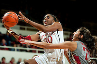 STANFORD, CA-JANUARY 18, 2012 - Nnemkadi Ogwumike beats a defender for two points in the first half against the Washington State Cougars.