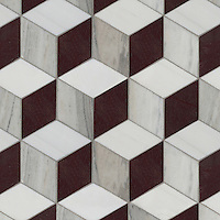 Euclid Grand, a hand-cut mosaic, shown in polished Red Lake, polished Afyon White and honed Horizon, is part of the Illusions™ collection by Sara Baldwin for New Ravenna.