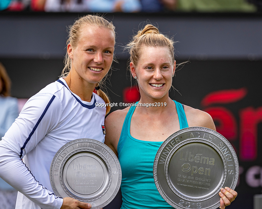 Rosmalen, Netherlands, 16 June, 2019, Tennis, Libema Open, Runner up Kiki Bertens (NED) (L) and winner Alison Riske (USA)<br /> Photo: Henk Koster/tennisimages.com