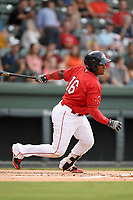 Catcher Roldani Baldwin (16) of the Greenville Drive bats in a game against the Charleston RiverDogs on Friday, July 28, 2017, at Fluor Field at the West End in Greenville, South Carolina. Charleston won, 6-1. (Tom Priddy/Four Seam Images)