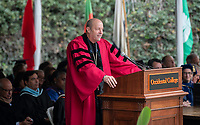 President Jonathan Veitch<br /> Families, friends, faculty, staff and distinguished guests celebrate the class of 2018 during Occidental College's 136th Commencement ceremony on Sunday, May 20, 2018 in the Remsen Bird Hillside Theater.<br /> (Photo by Marc Campos, Occidental College Photographer)