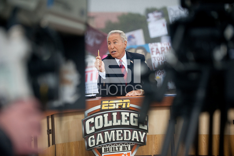 STANFORD, CA - NOVEMBER 12: Jim Corso talks to the cameras during filing of ESPN's Gameday Live at the Oval on the Stanford Campus. Stanford will compete against the University of Oregon at Stanford Stadium later that afternoon.