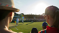 Fans enjoying late afternoon sunshine on the outside courts<br /> <br /> Photographer Ashley Western/CameraSport<br /> <br /> Wimbledon Lawn Tennis Championships - Day 3 - Wednesday 5th July 2017 -  All England Lawn Tennis and Croquet Club - Wimbledon - London - England<br /> <br /> World Copyright &not;&copy; 2017 CameraSport. All rights reserved. 43 Linden Ave. Countesthorpe. Leicester. England. LE8 5PG - Tel: +44 (0) 116 277 4147 - admin@camerasport.com - www.camerasport.com