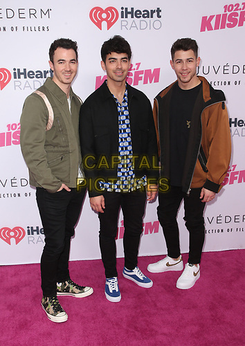 CARSON, CA - June 1: Kevin Jonas, Joe Jonas, Nick Jonas, at 2019 iHeartRadio Wango Tango Presented By The JUVÉDERM® Collection Of Dermal Fillers at Dignity Health Sports Park in Carson, California on June 1, 2019.   <br /> CAP/MPI/SAD<br /> ©SAD/MPI/Capital Pictures