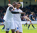 Caley's Edward Ofere (7) is congratulated by Caley's Ross Draper (8) after he scores their first goal.