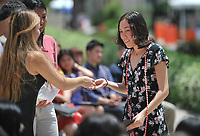 Graduating seniors, faculty and staff gather for the First Generation Graduation Celebration, on the steps between Johnson and Fowler Halls and the Academic Quad on Saturday, May 18, 2019.<br /> <br /> (Photo by John Valenzuela, Freelance Photographer)