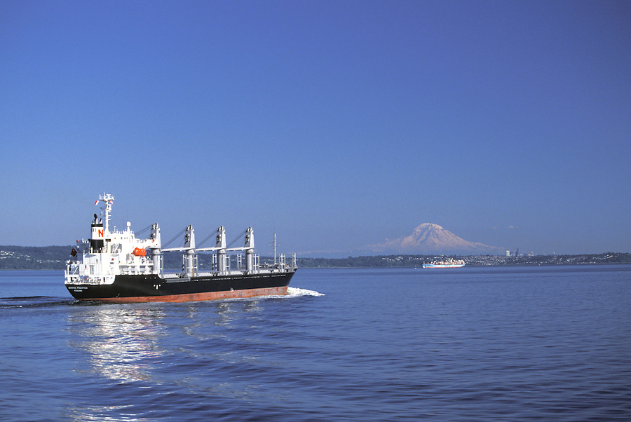 Ship on Puget Sound with Mount Rainier in background, Washington