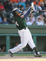 Outfielder Brandon Jacobs (24) of the Greenville Drive, Class A affiliate of the Boston Red Sox, in a game against the Charleston RiverDogs on May 15, 2011, at Fluor Field at the West End in Greenville, S.C. Photo by Tom Priddy / Four Seam Images