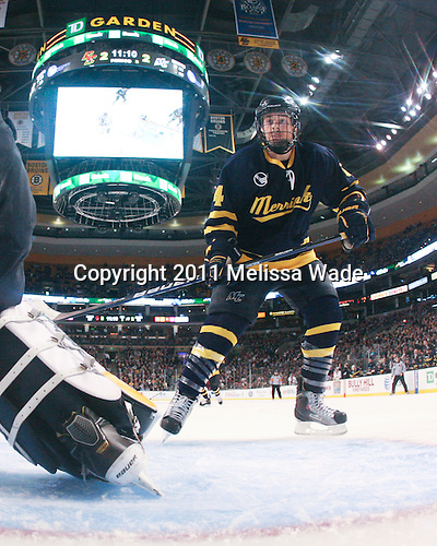 Jordan Heywood (Merrimack - 4) - The Boston College Eagles defeated the Merrimack College Warriors 5-3 to win the Hockey East championship for the tenth time on Saturday, March 19, 2011, at TD Garden in Boston, Massachusetts.