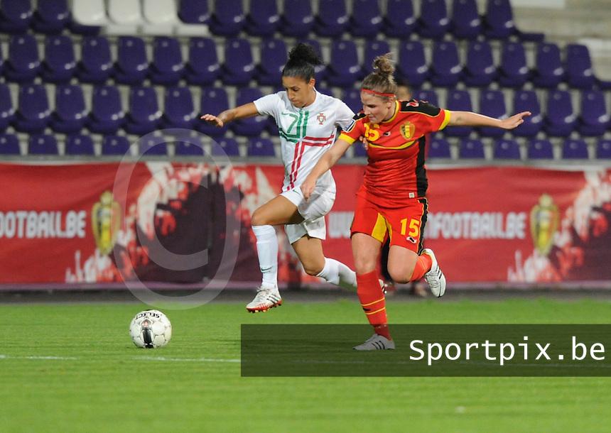 Belgian Red Flames - Portugal (31/10/2013) :<br /> spurtduel tussen Claudia Neto (L) en Marlies Verbruggen (R)<br /> foto Dirk Vuylsteke / nikonpro.be