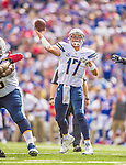 21 September 2014: San Diego Chargers quarterback Philip Rivers makes a pass into the end zone on a pass-interference play during the second quarter against the Buffalo Bills at Ralph Wilson Stadium in Orchard Park, NY. The Chargers defeated the Bills 22-10 in AFC play. Mandatory Credit: Ed Wolfstein Photo *** RAW (NEF) Image File Available ***