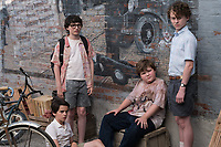It (2017)<br /> JACK DYLAN GRAZER as Eddie Kaspbrak, FINN WOLFHARD as Richie Tozier, JEREMY RAY TAYLOR as Ben Hanscom and WYATT OLEFF as Stanley Uris<br /> *Filmstill - Editorial Use Only*<br /> CAP/KFS<br /> Image supplied by Capital Pictures