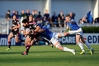 Paul Williams of Stade Francais is tackled by Rhys Ruddock of Leinster  during the Amlin Challenge Cup Final between Leinster Rugby and Stade Francais at the RDS Arena, Dublin on Friday 17th May 2013 (Photo by Rob Munro).