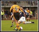 24/8/02         Copyright Pic : James Stewart                     .File Name : stewart-alloa v falkirk 03.CRAIG MCPHERSON FIRES HOME FALKIRK'S FIRST GOAL.......James Stewart Photo Agency, 19 Carronlea Drive, Falkirk. FK2 8DN      Vat Reg No. 607 6932 25.Office : +44 (0)1324 570906     .Mobile : + 44 (0)7721 416997.Fax     :  +44 (0)1324 570906.E-mail : jim@jspa.co.uk.If you require further information then contact Jim Stewart on any of the numbers above.........